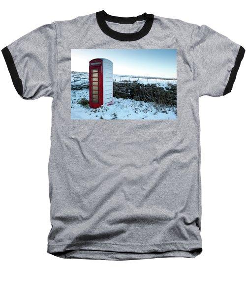 Snowy Telephone Box Baseball T-Shirt by Helen Northcott
