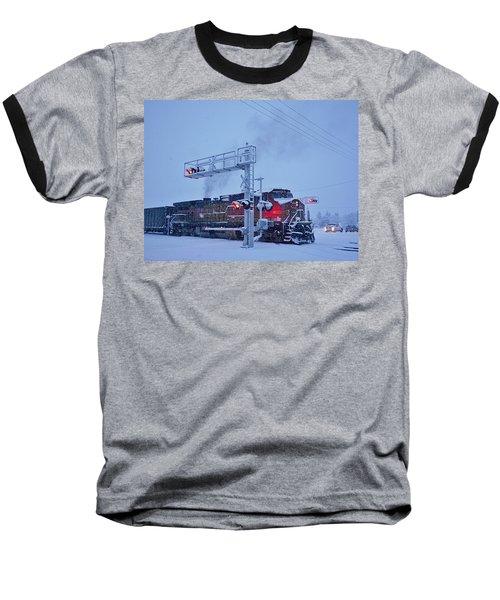 Snowy Train Crossing  Baseball T-Shirt