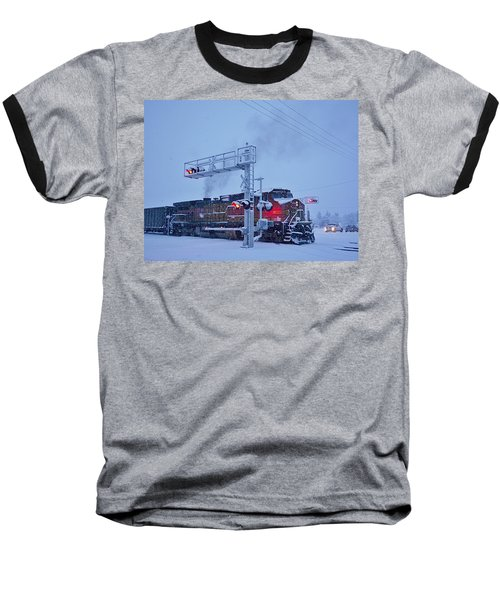 Snowy Train Crossing  Baseball T-Shirt