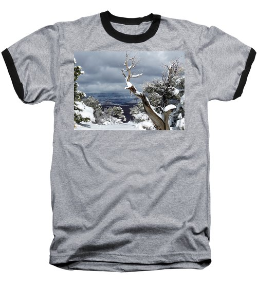 Snowy View Baseball T-Shirt by Laurel Powell