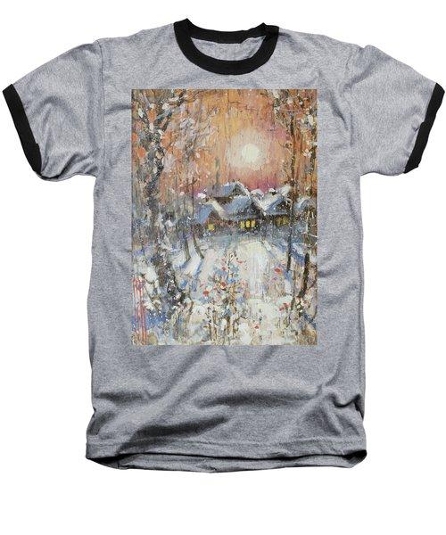 Snowy Village Baseball T-Shirt