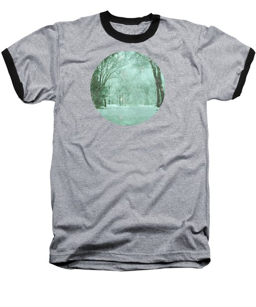 Snowy Winter Night Baseball T-Shirt by Mary Wolf