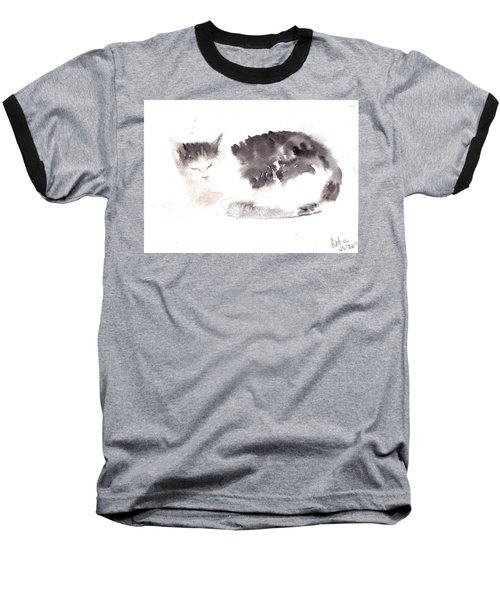 Snuggling Cat Baseball T-Shirt