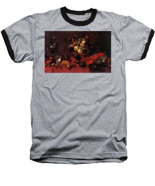 Snyders Frans Still Life With A Basket Of Fruit Baseball T-Shirt by Frans Snyders
