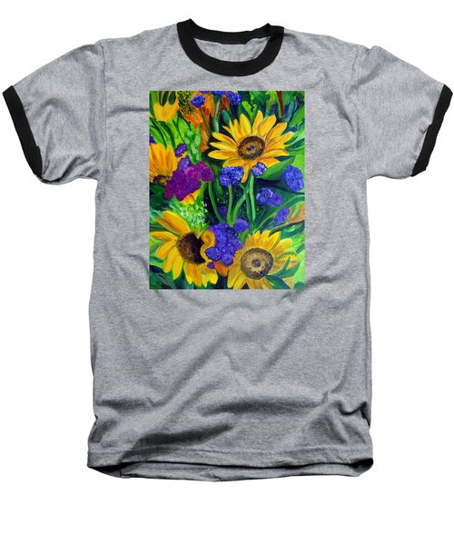 Sunflowers -soaking Up Sunshine Baseball T-Shirt by Julie Brugh Riffey
