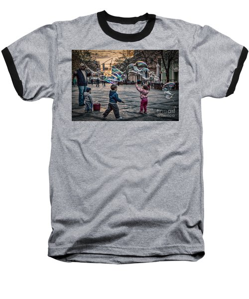 Baseball T-Shirt featuring the photograph Soap Bubbles Evening Play by Jivko Nakev