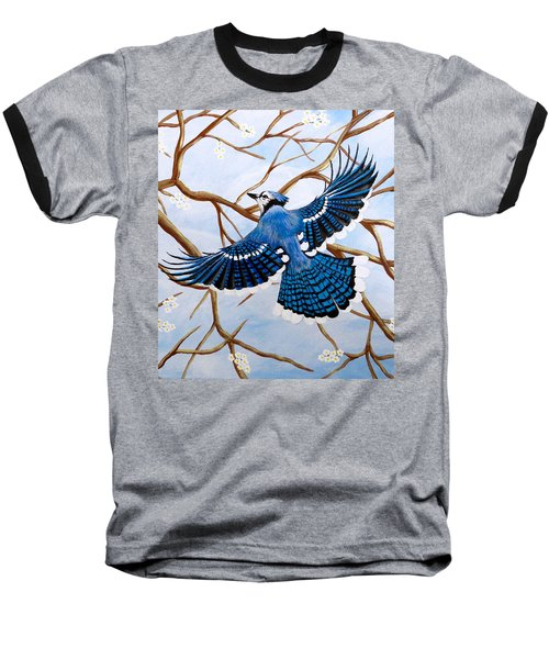 Soaring Blue Jay  Baseball T-Shirt by Teresa Wing