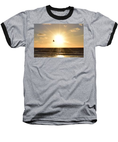 Soaring Seagull Sunset Over Imperial Beach Baseball T-Shirt
