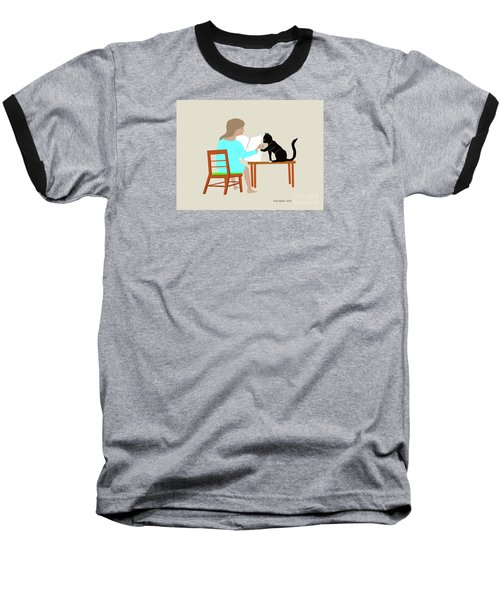 Socks Reads Sunday Paper Baseball T-Shirt by Fred Jinkins