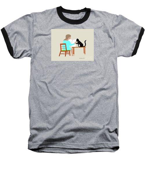 Socks Reads Sunday Paper Baseball T-Shirt