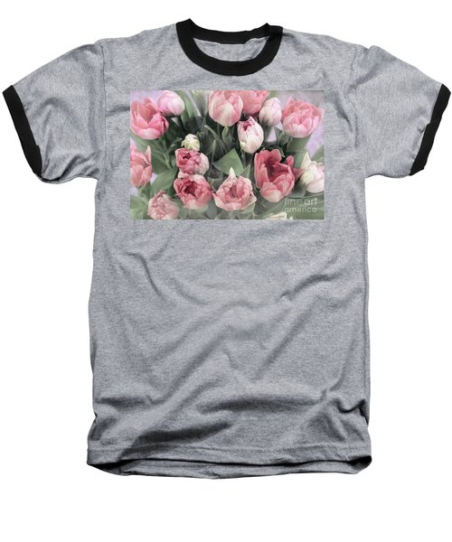 Soft Pink Tulips Baseball T-Shirt