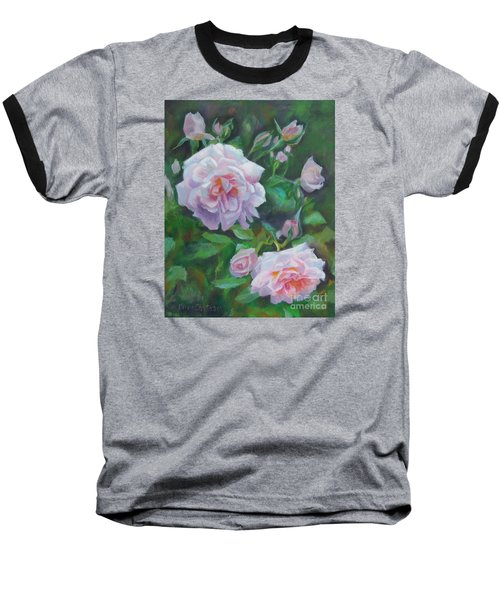 Baseball T-Shirt featuring the painting Softly Pink Roses by Karen Kennedy Chatham