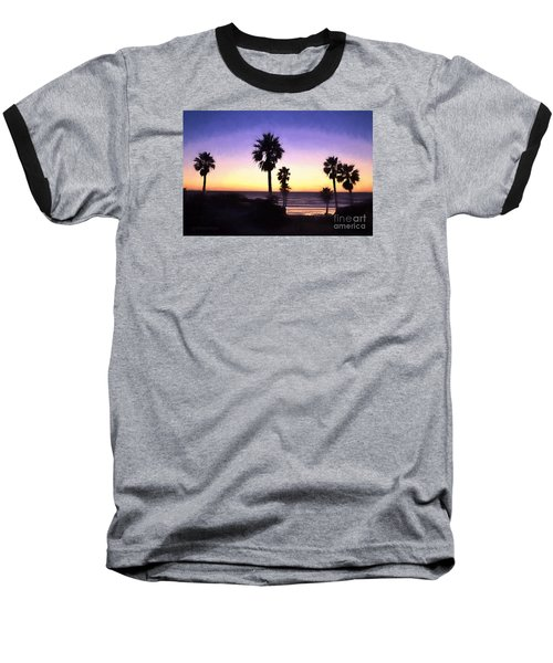 Solana Beach Sunset - Digital Painting Baseball T-Shirt by Sharon Soberon