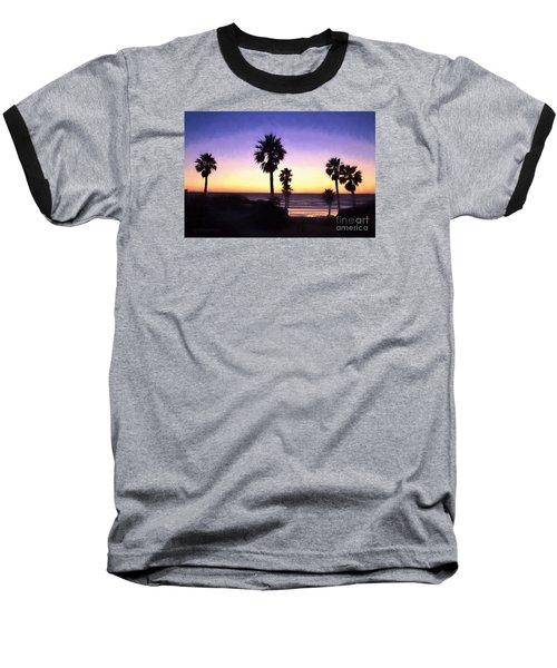 Solana Beach Sunset - Digital Painting Baseball T-Shirt