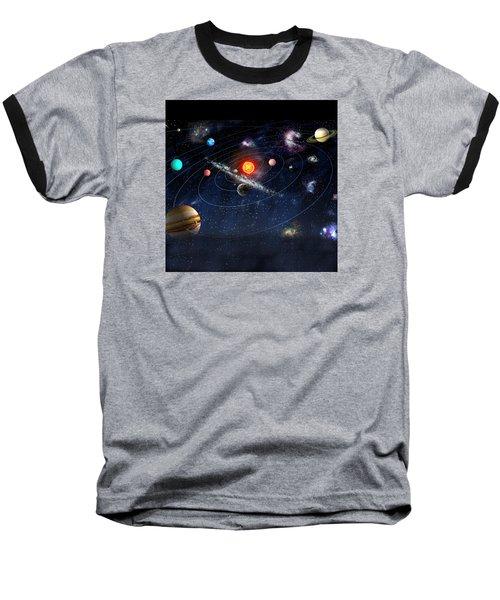 Solar System Baseball T-Shirt by Gina Dsgn