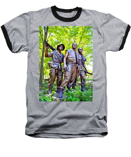Soldiers Statue At The Vietnam Wall Baseball T-Shirt