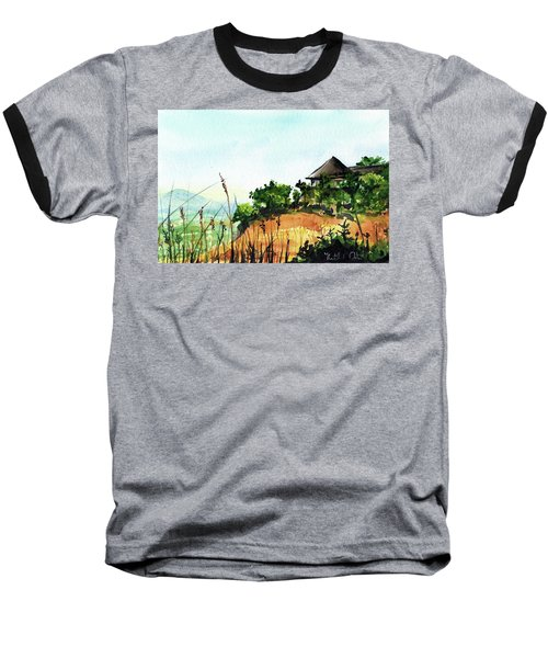 Baseball T-Shirt featuring the painting Solitary Cottage In Malawi by Dora Hathazi Mendes