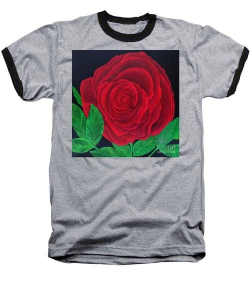 Solitary Red Rose Baseball T-Shirt