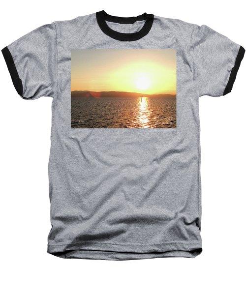 Solitary Sailboat Baseball T-Shirt by Felipe Adan Lerma