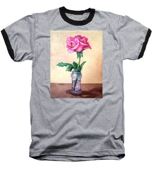 Solo Rose Baseball T-Shirt by Laura Aceto