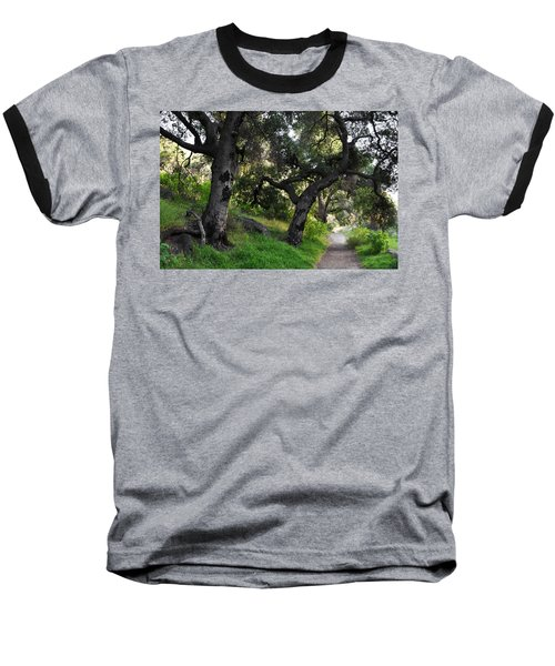 Solstice Canyon Live Oak Trail Baseball T-Shirt by Kyle Hanson