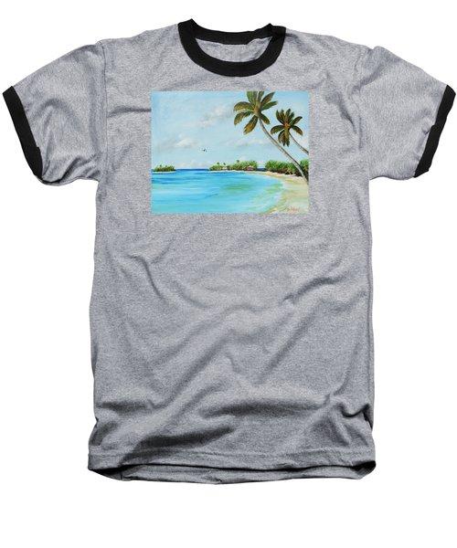Somewhere In Paradise Baseball T-Shirt by Lloyd Dobson