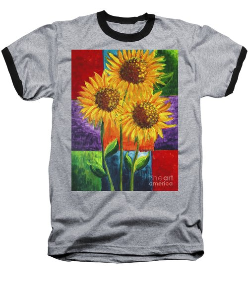 Baseball T-Shirt featuring the painting Sonflowers I by Holly Carmichael