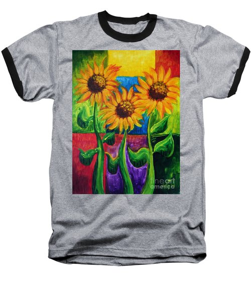 Baseball T-Shirt featuring the painting Sonflowers II by Holly Carmichael