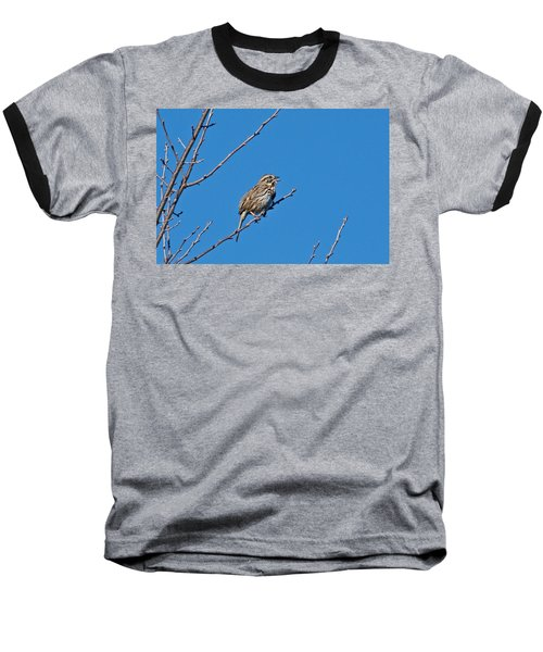 Baseball T-Shirt featuring the photograph Song Sparrow by Michael Peychich