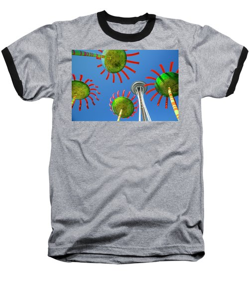 Baseball T-Shirt featuring the photograph Sonic Bloom In Seattle Center by Adam Romanowicz