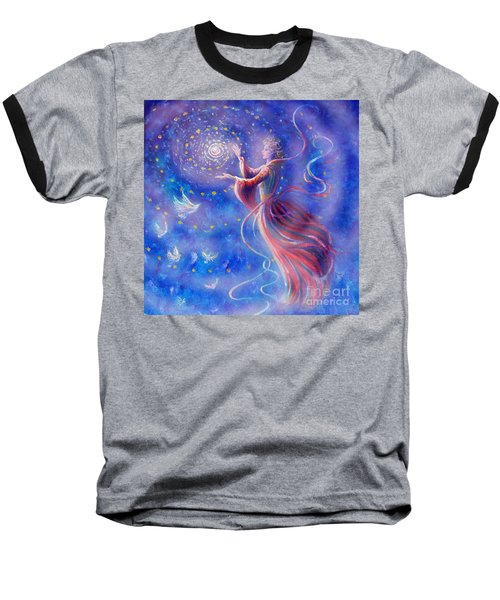 Baseball T-Shirt featuring the mixed media Sophia Finds Wisdom by Dee Davis