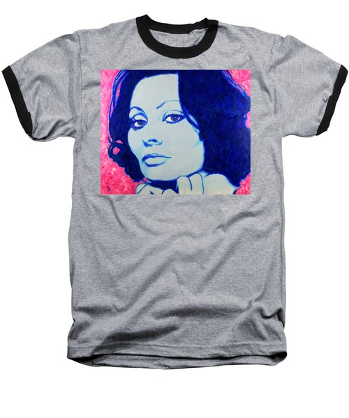 Sophia Loren Pop Art Portrait Baseball T-Shirt