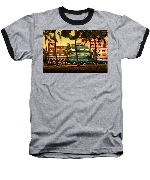 South Beach Ocean Drive Baseball T-Shirt by Steven Sparks