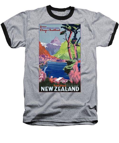 South Island New Zealand Vintage Poster Restored Baseball T-Shirt