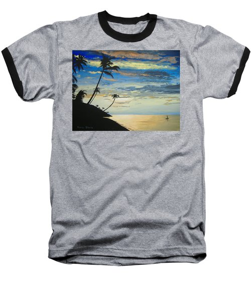 Baseball T-Shirt featuring the painting South Sea Sunset by Norm Starks
