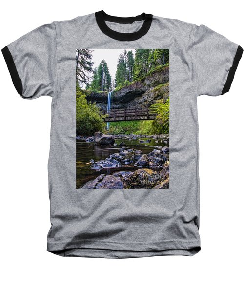 South Silver Falls With Bridge Baseball T-Shirt by Darcy Michaelchuk