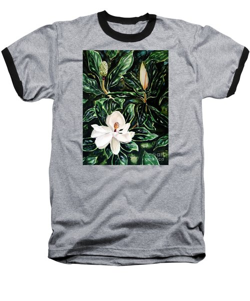 Southern Magnolia Bud And Bloom Baseball T-Shirt by Patricia L Davidson