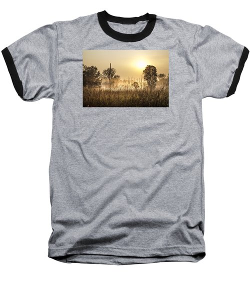 Southern Michigan Foggy Morning  Baseball T-Shirt by John McGraw