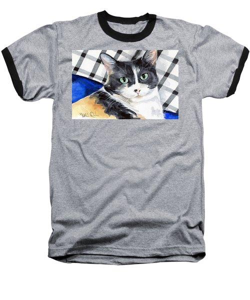 Southpaw - Calico Cat Portrait Baseball T-Shirt