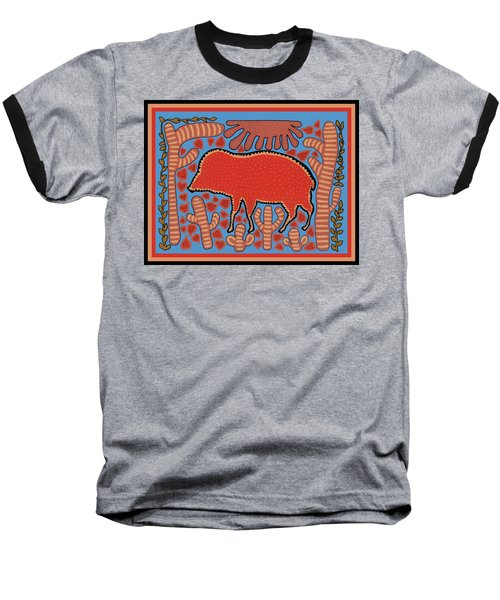 Baseball T-Shirt featuring the digital art Southwest Desert Wart Hog by Vagabond Folk Art - Virginia Vivier