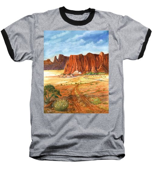 Baseball T-Shirt featuring the painting Southwest Red Rock Ranch by Marilyn Smith