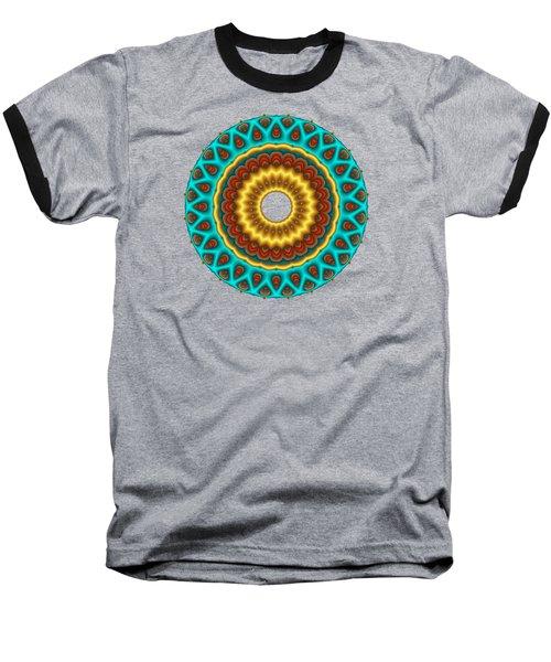 Southwestern Peacock Fractal Mandala Baseball T-Shirt
