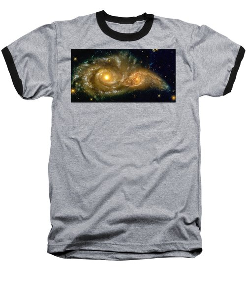 Space Image Spiral Galaxy Encounter Baseball T-Shirt