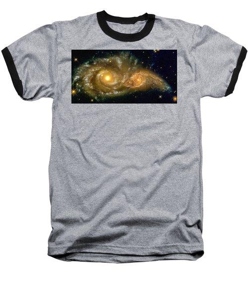 Space Image Spiral Galaxy Encounter Baseball T-Shirt