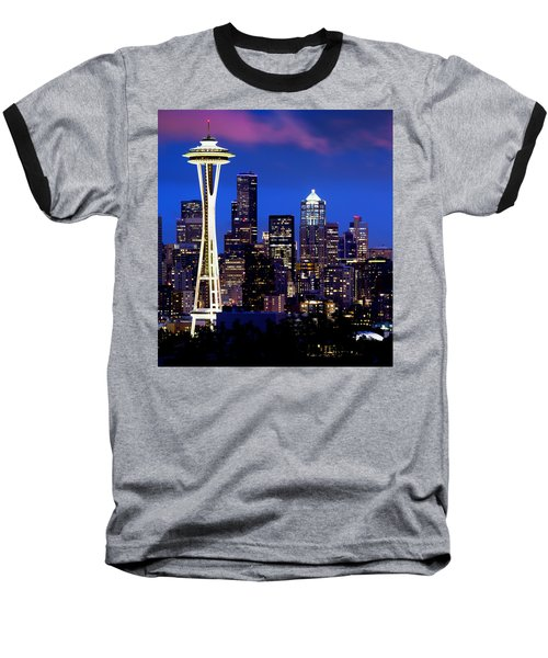 Space Needle At Night  Baseball T-Shirt