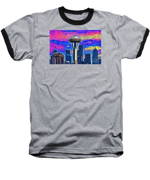 Space Needle Colorful Sky Baseball T-Shirt