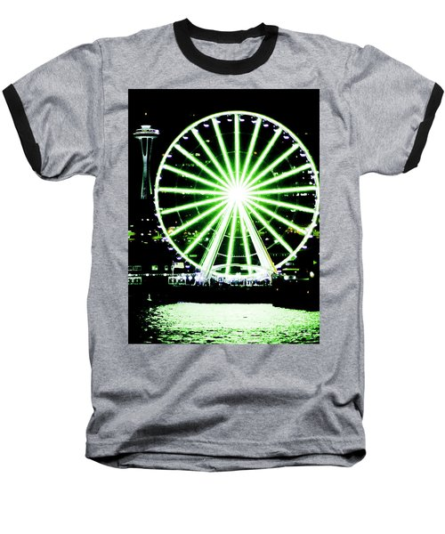 Space Needle Ferris Wheel Baseball T-Shirt