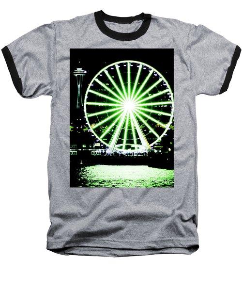 Space Needle Ferris Wheel Baseball T-Shirt