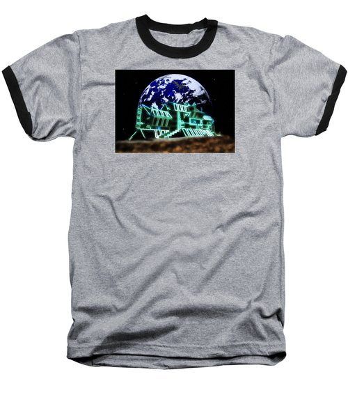 Baseball T-Shirt featuring the painting Space Station Omega by Mario Carini