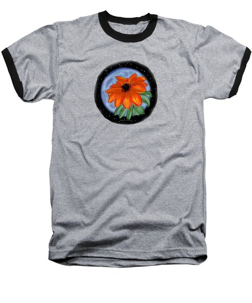 Space Zinnia On Black Baseball T-Shirt by Jean Pacheco Ravinski